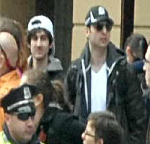 The Boston bombing suspects as they appeared in surveillance footage.