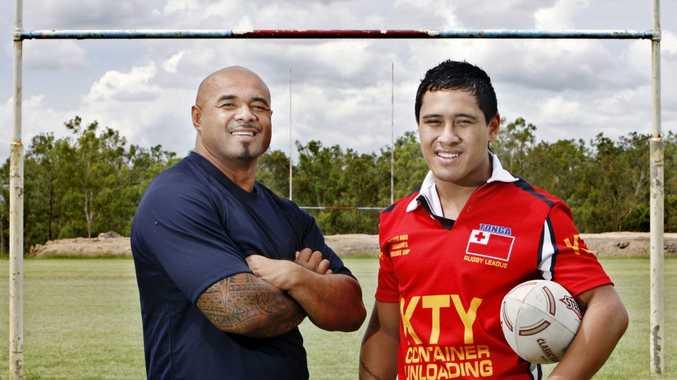 Charles Tonga with Tonga rugby league player Kaustio Magele.