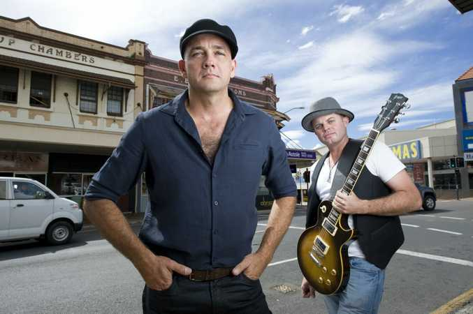 Darren Yarrow and Greg Stephenson are the band called 'Crashing Tomorrow'. Photo: Rob Williams / The Queensland Times