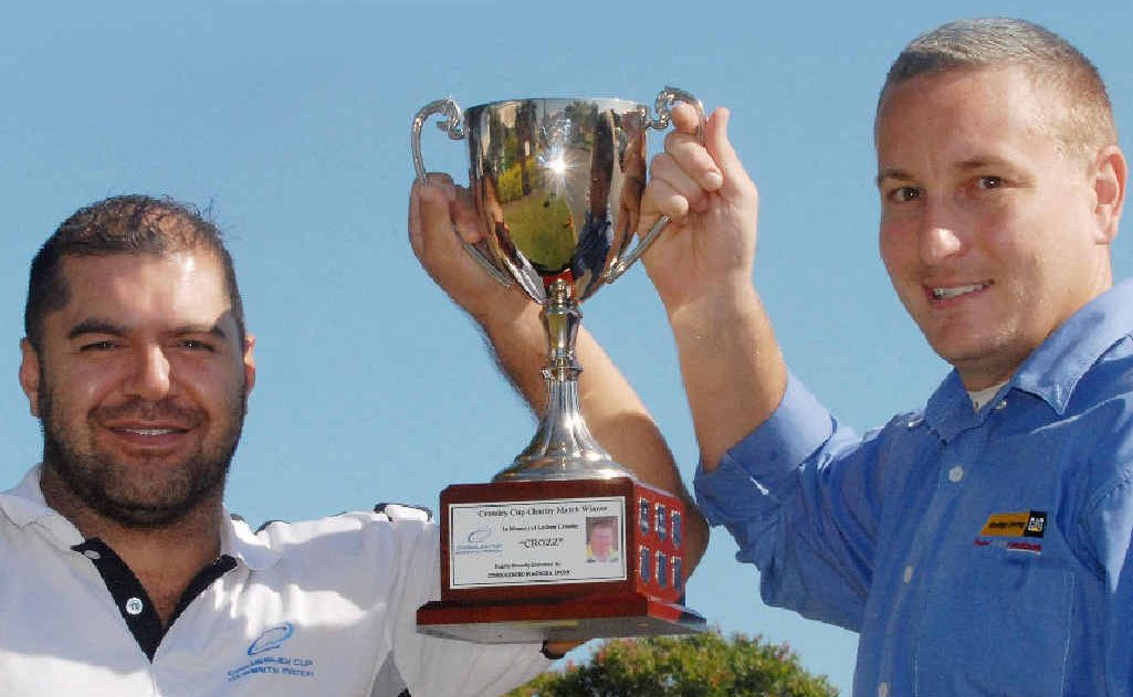 Co-organisers Ivan Tito and Paul McNeill with the Crossley Cup.