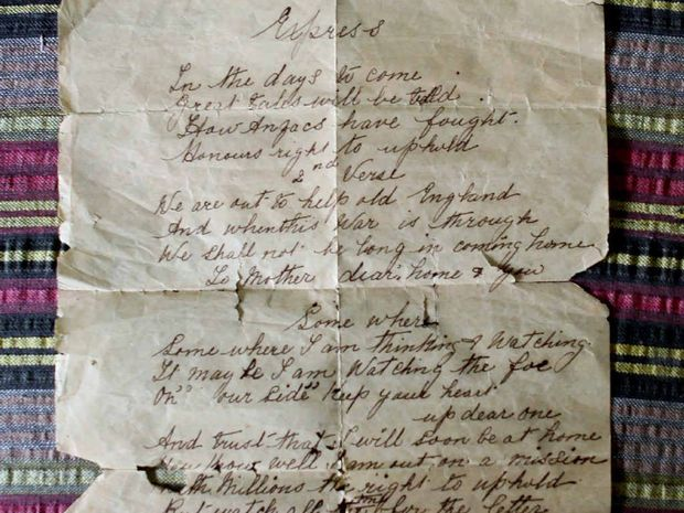 The old letter written by a son to his mother in the First World War.