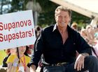 David Hasselhoff smiled throughout the parade.