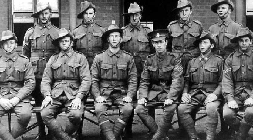 BRAVE MEN: Hugh Kerr Burns (back row, fourth from left) enlisted in October 1916, the day after he turned 18.