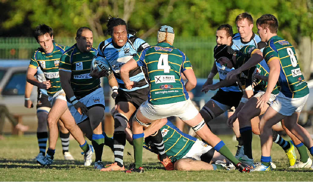 Maroochydore fullback Lassaro Manamoli goes on a charge against University at Cotton Tree Oval yesterday.