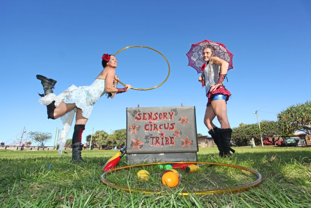 Karyn Smith and Marguerite Peach of Sensory Circus Tribe performing.