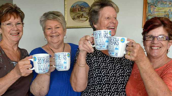 Residents of Breezes Retirement Village Dorothy McLean, Jan Macgregor, June Hitchings and Dorothy Macgroarty will share a cup of tea to raise monet for those touched by cancer. Photo Lee Constable / Daily Mercury