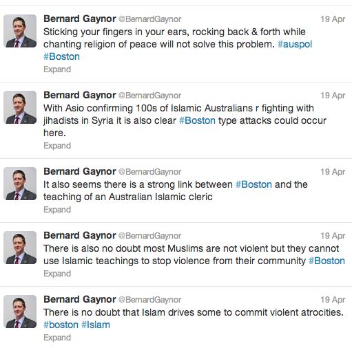 Bernard Gaynor's Boston tweets.