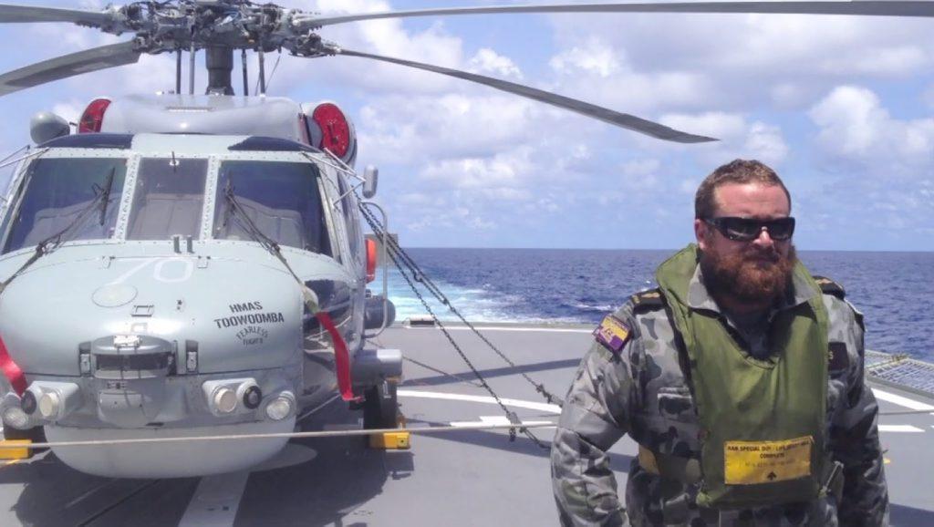 Able Seaman Geoffrey Hayes on board HMAS Toowoomba.
