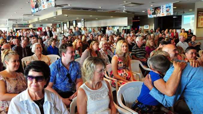 A Big crowd at Noosa Heads SLSC pays tribute to Alan Coates.