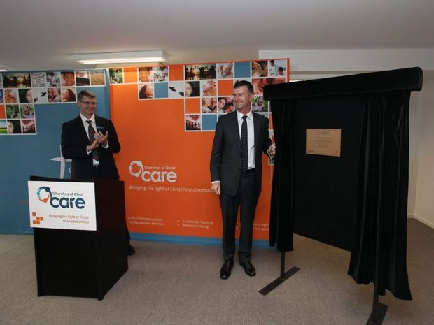 Minister for public housing Tim Mander at the opening of the Coogera Apartments in Caloundra.