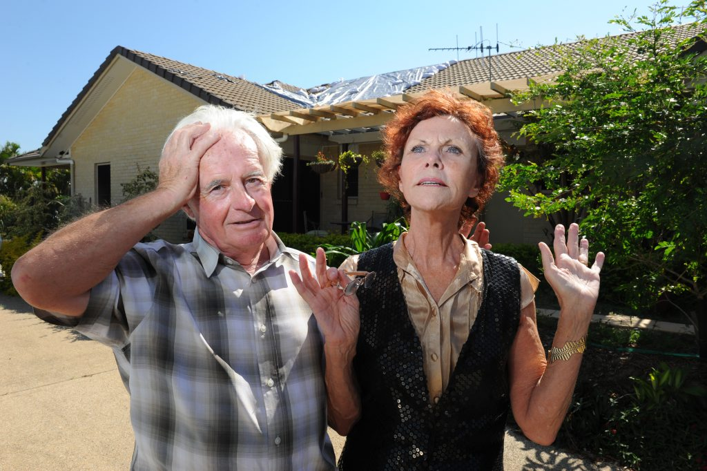 NO MORE: Bargara residents Evan and Irenie Roberts are dreading the forecast for high winds. Their home was severely damaged by tornadoes earlier in the year. Photo: Mike Knott / NewsMail