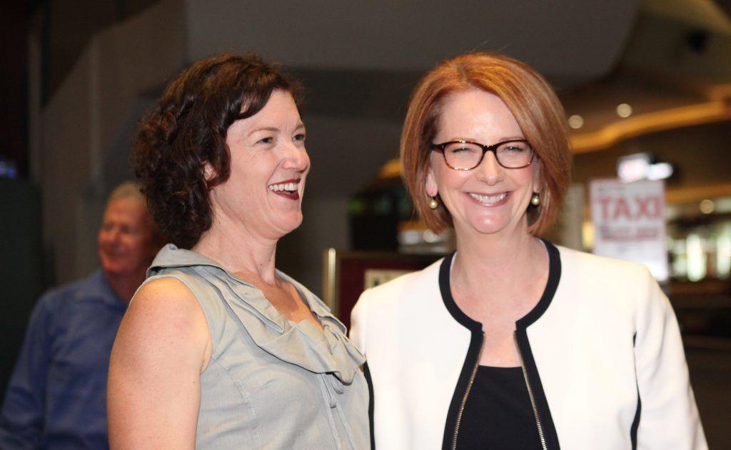 Kirsten Livermore with PM Julia Gillard. Photo Allan Reinikka / The Morning Bulletin