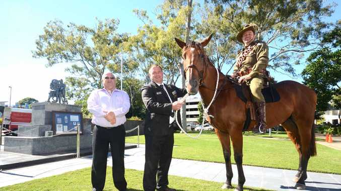 FAMILY LEGACY: Scott Stanford with the RSL sub-branch's Bob Payne and Scott Seccombe at the Cenotaph.