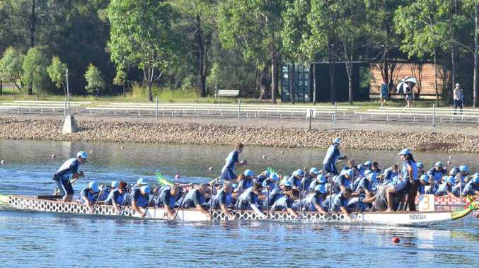 JUST AHEAD: The Coffs Coast mixed Dragon Boat crew edged their way to victory at the state titles. CONTRIBUTED
