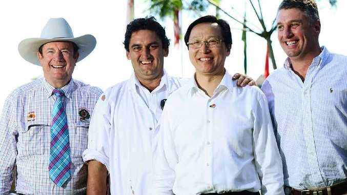 BEEFING IT UP: The Chinese Minister for Agriculture Han Changfu visits the JBS abattoir at Dinmore. Also pictured (from left) are cattle supplier Graeme Acton, plant manager Murray Wilson, and CEO of JBS Australia Brent Eastwood.