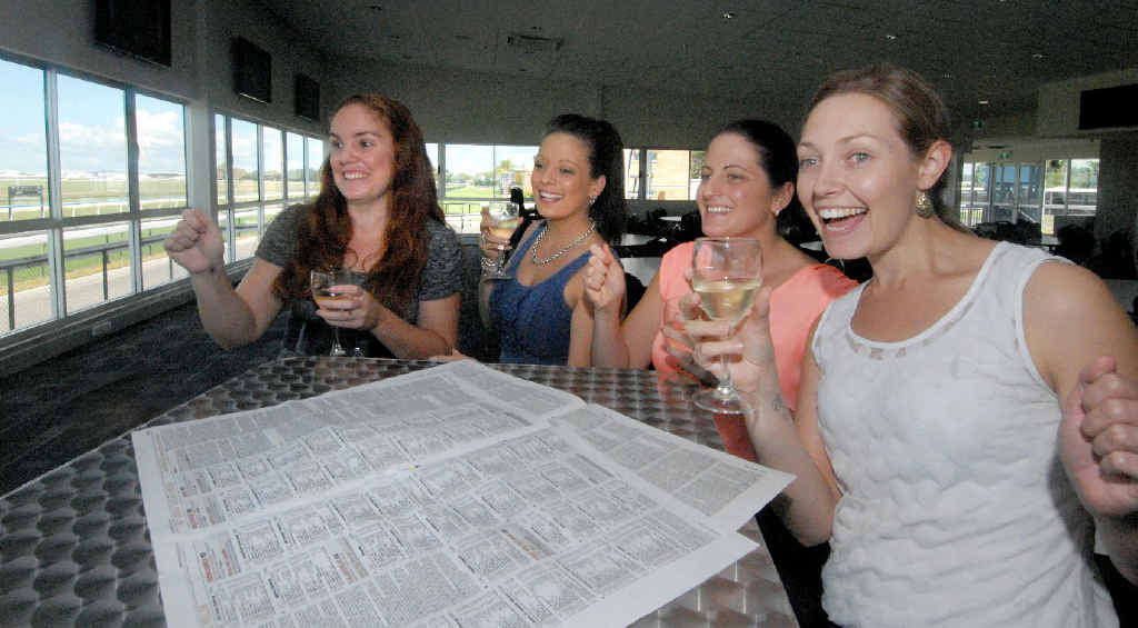 Claire Cooknell, Amber Chadwick, Kirstin Chadwick and Ashlee English check out The Event Centre race day facilities at Ooralea.