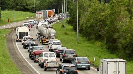 The Bruce Highway during peak hour traffic