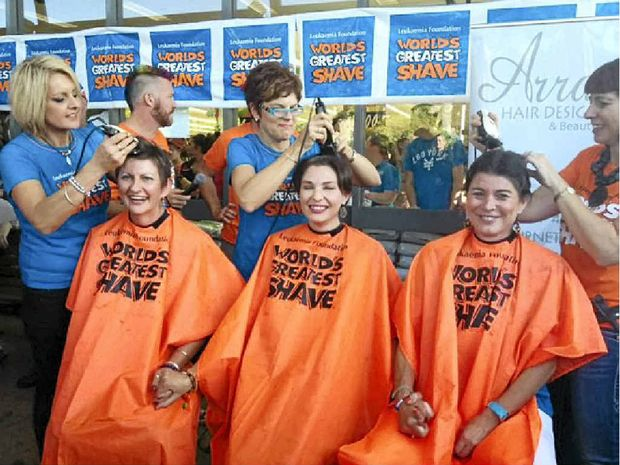 Staff from the Maroochydore Red Cross Blood Service were brave and shaved for Team Adem.