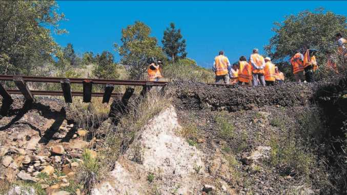 A picture from an inspection of the line done by then NSW Transport Minister John Watkins in 2006. Sections of the line, including this one at St Helena, were badly damaged in the 2005 floods.