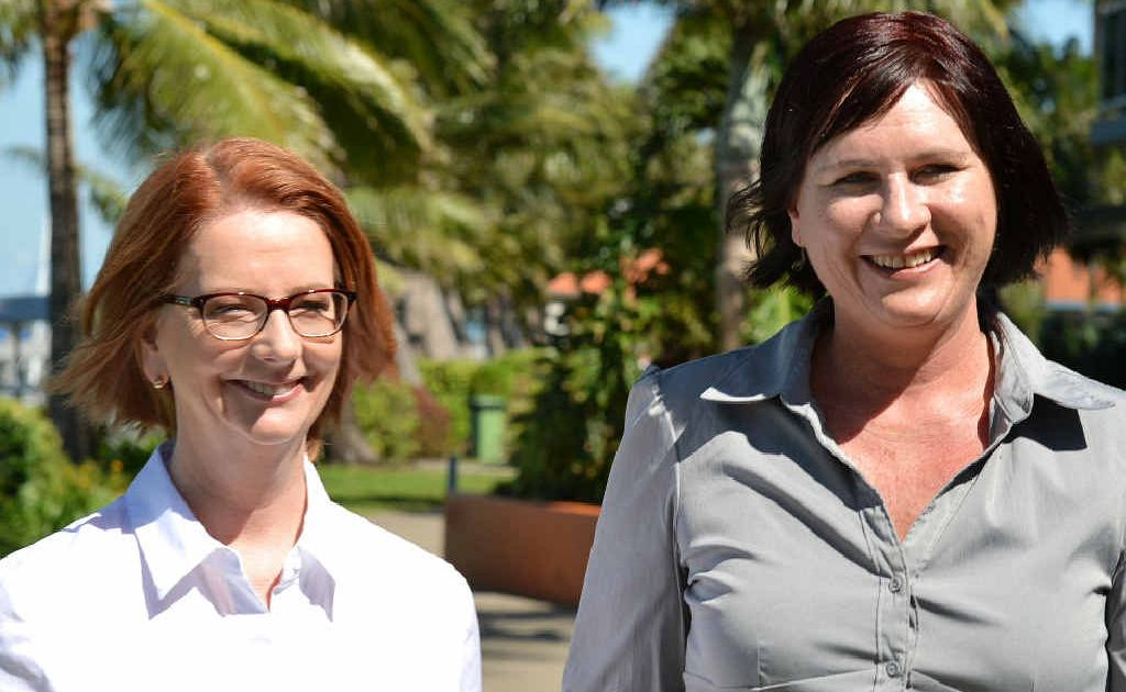 Prime Minister Julia Gillard, with Labor's candidate for Dawson Bronwyn Taha, in Mackay to announce construction on the ring road would soon begin.