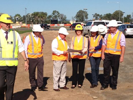Prime Minister Julia Gillard at the Yeppen roundabout in Rockhampton this morning.