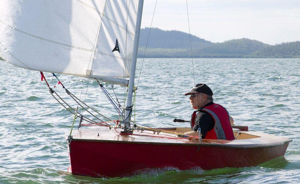 Downwind run: Garth Brierley in Red Boat