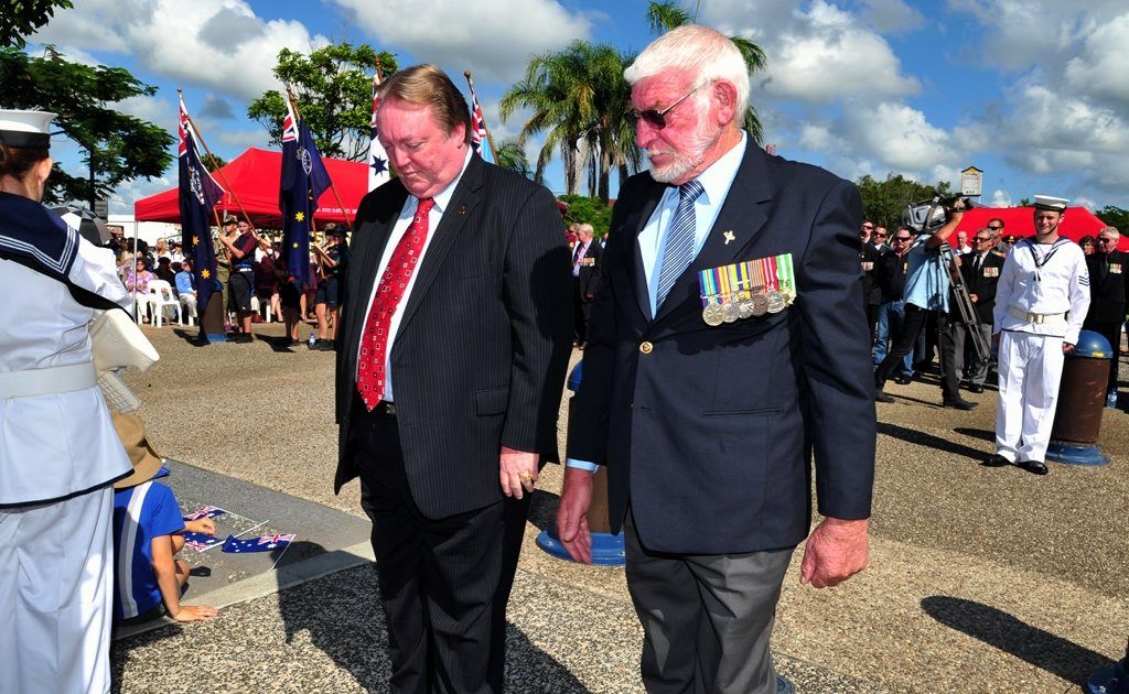 Anzac Day Ceremony at Tewantin: (L-R) Member for Noosa Glen Elmes and Deputy President of the Tewantin Noosa RSL Ian Rowe lay a wreath at the Tewantin Anzac Day Ceremony. Photo Geoff Potter / Noosa News
