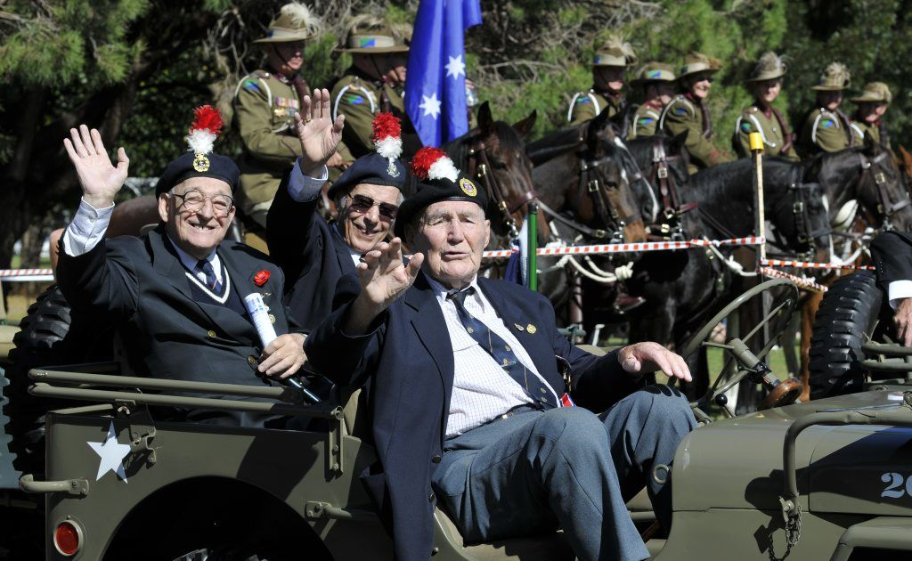 British veterans (from left) Smiley Adcock, Peter Quinnell and Reg Jones. ANZAC Day Mid Morning Service at Mothers' Memorial. Photo Dave Noonan / The Chronicle