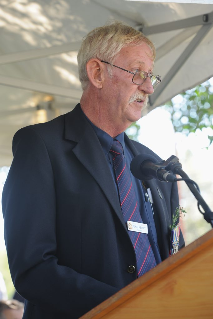 RSL president John Kelsey at the Hervey Bay Anzac Day ceremony.