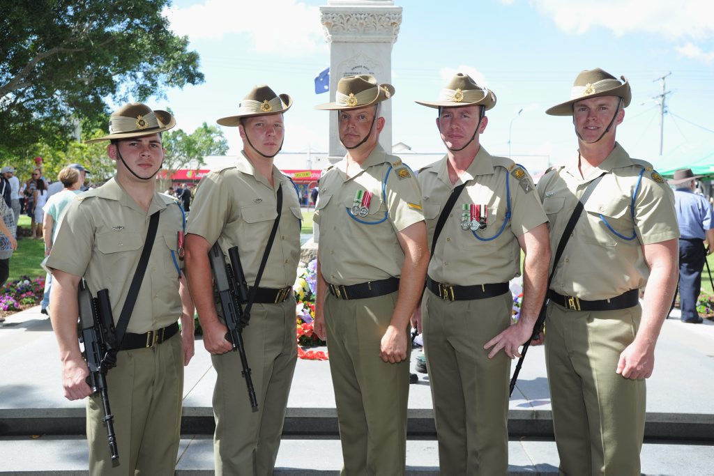 Private Peter Spain, Pte Nathan Christensen, Lance Cpl Terry Cordell, Pte Andrew Cleave and Pte Liam Porter from the catafalque party at the Hervey Bay Anzac Day ceremony.