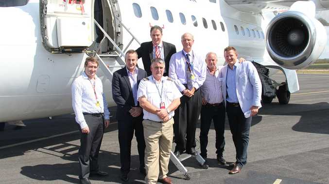 Fraser Coast Opportunities board member Glen Winney, Vincent Aviation chief executive officer Murray Collings, Fraser Coast Mayor Gerard O'Connell, aviation portfolio councillor Rolf Light, Gatakers Bay Restaurant owner John Kilroy, Avmin Air Charter Specialists director Paul O'Brien and (front) pilot and Vincent Airline owner Peter Vincent.