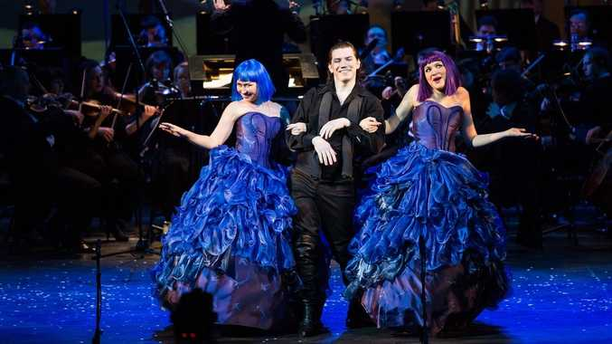 From left, Galina Koroleva, Yaroslav Abaimov and Elena Terentyeva performing an aria from Verdi's Sicilian Vespers in a scene from the Moscow Novaya Opera's OperaMania.