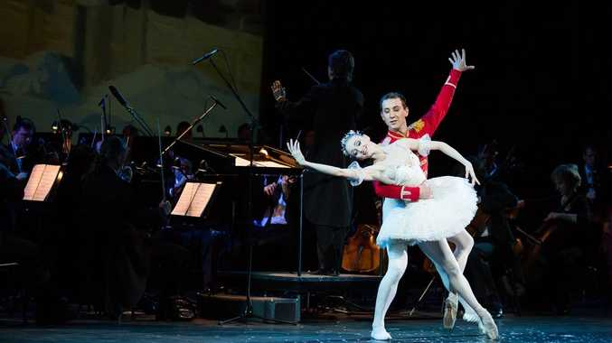 Dancers Yaroslava Araptanova and Alexander Volkov from the Russian Imperial Ballet performing the Pas de deux from The Nutcracker in a scene from the Moscow Novaya Opera's OperaMania.