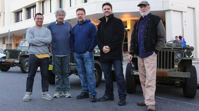 OUT AND ABOUT: Troy Lum, Andrew Lesnie, Russell Crowe, Keith Rodger and Andrew Mason.