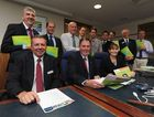 Council budget - deputy mayor Trevor McDonald, mayor Gerard O'Connell and CEO Lisa Desmond with fellow councillors.
