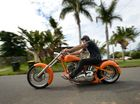 Dale Bauer with his 2004 custom made Chopper in Gladstone.