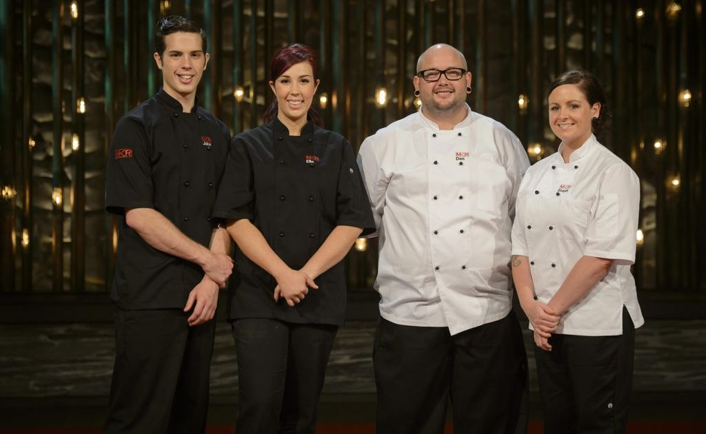 My Kitchen Rules 2013 finalists Jake and Elle Harrison, left, and Dan and Steph Mulheron.