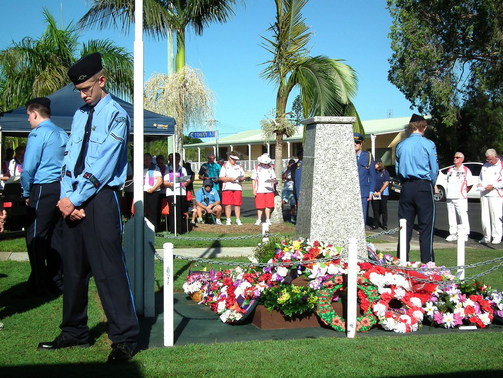 Crowds gather at the Burrum Heads Anzac Service.