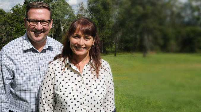 Member for Gympie David Gibson with Community Action Housing Services manager Michelle Hine at the Flynn Rd site.