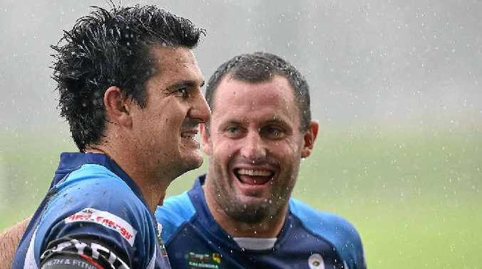 Former NRL player Chris Walker (pictured right with Chris Flannery at an All Stars match earlier this year) will play his first match for the Devils today.