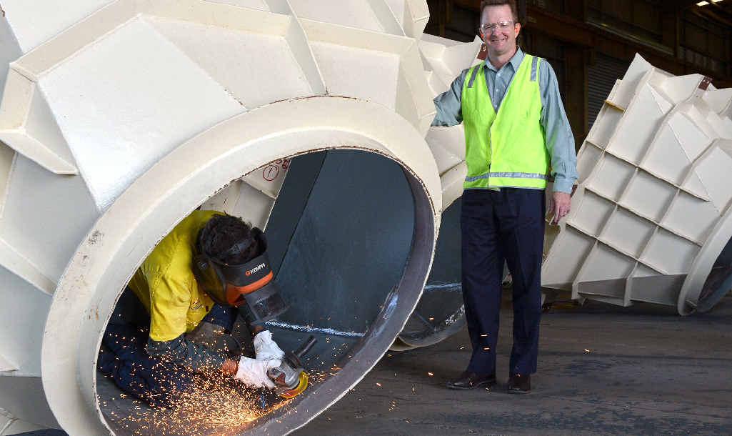 WORK ON WAY: G & S Engineering's Rod Klein at work alongside managing director Mick Crowe.