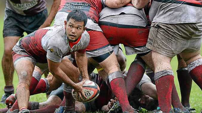 Nambour's Naoaki Miyagi, about to offload against Noosa earlier this month, is out injured for up to a month.