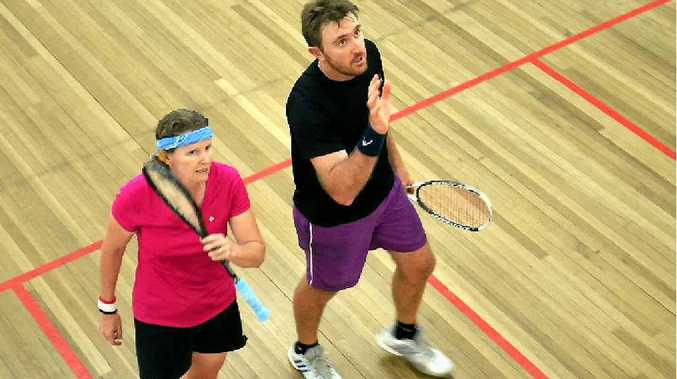Mackay's Robyn Cooper played Nathan Dean in the men's final at Moranbah.