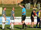 DECISIVE MOMENT: Western Pride player/coach Kasey Wehrman (left) is surprised to be sent off in yesterday's National Premier League match against the Brisbane Strikers at North Ipswich Reserve.