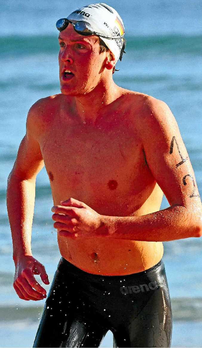 TOO GOOD: Josh Richardson wins the 3.8km Ocean Swim yesterday.