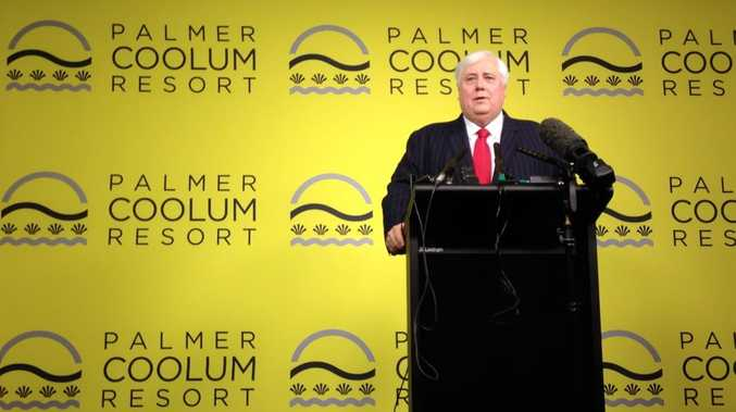 Clive Palmer addresses the media in Brisbane to unveil his $2.5b plans for a development on the Sunshine Coast.