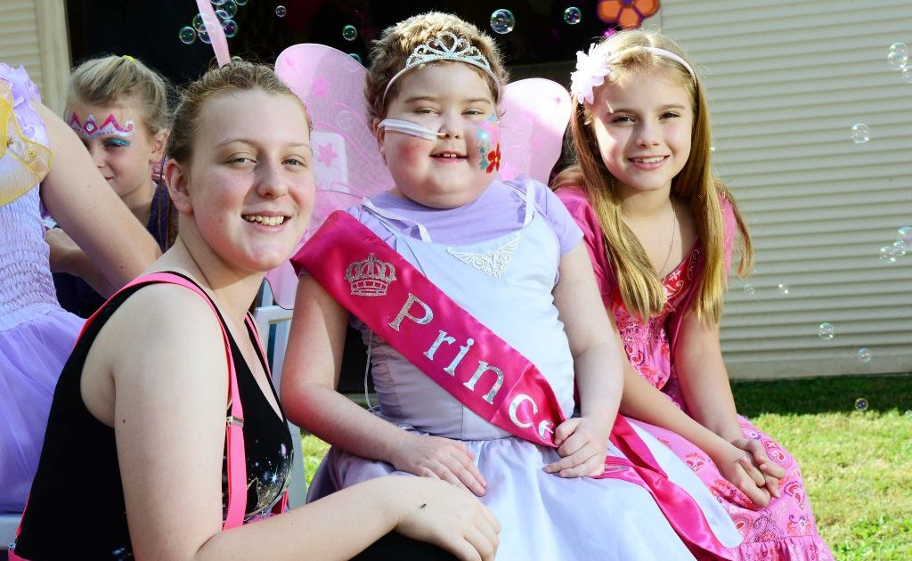Charlotte Broady (right) celebrates her eighth birthday with sister Madei, 17, and friend Libby McAllar.