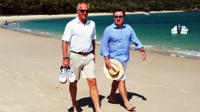 Greg Norman and Terry Agnew on Great Keppel Island