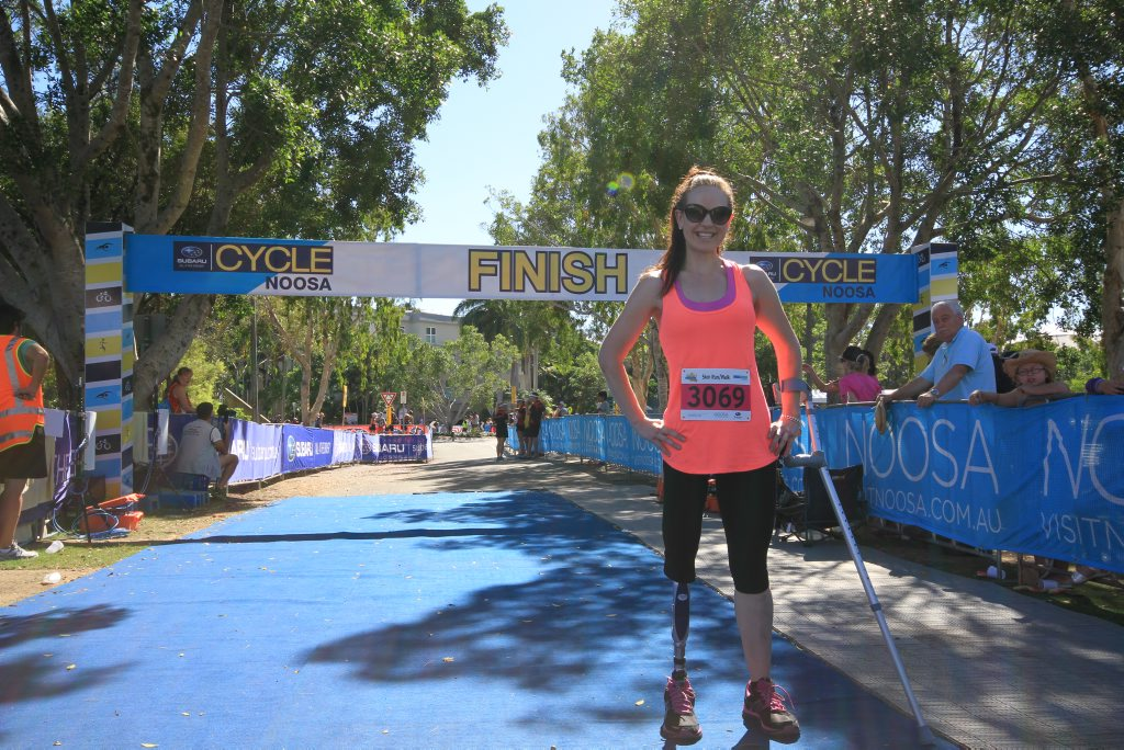 Miranda Cashin completes the 5km walk/run at the Noosa Ultimate Sports Fest. It's her first big event since she underwent osseointegration surgery in 2012.