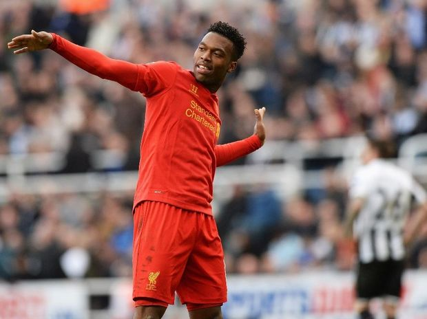 Daniel Sturridge of Liverpool celebrates scoring a goal during the Barclays Premier League match between Newcastle United and Liverpool at St James' Park on April 27, 2013 in Newcastle upon Tyne, England.